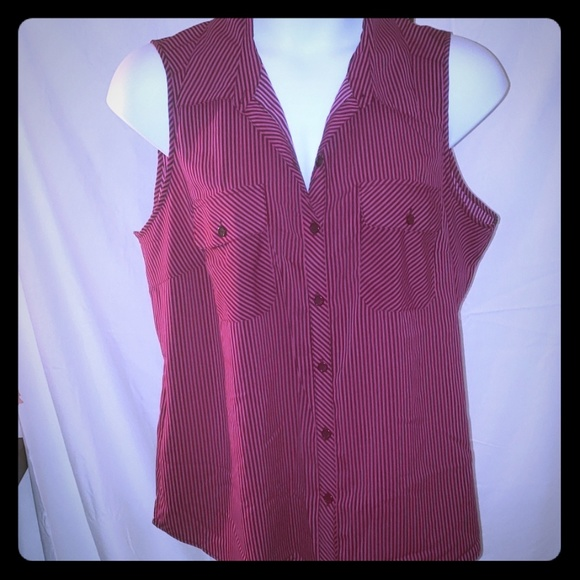 Notations Tops - Fuchsia and black striped top